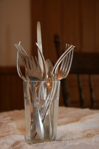 Silverware in a glass